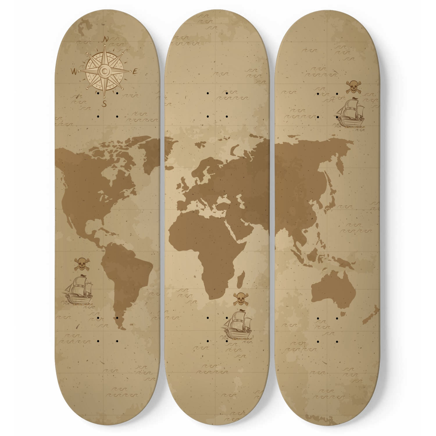 Map Out Your Adventure - 3 Skateboard Wall Art