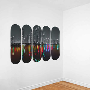 Dubai Skyline - 5 Piece Skateboard Wall Art