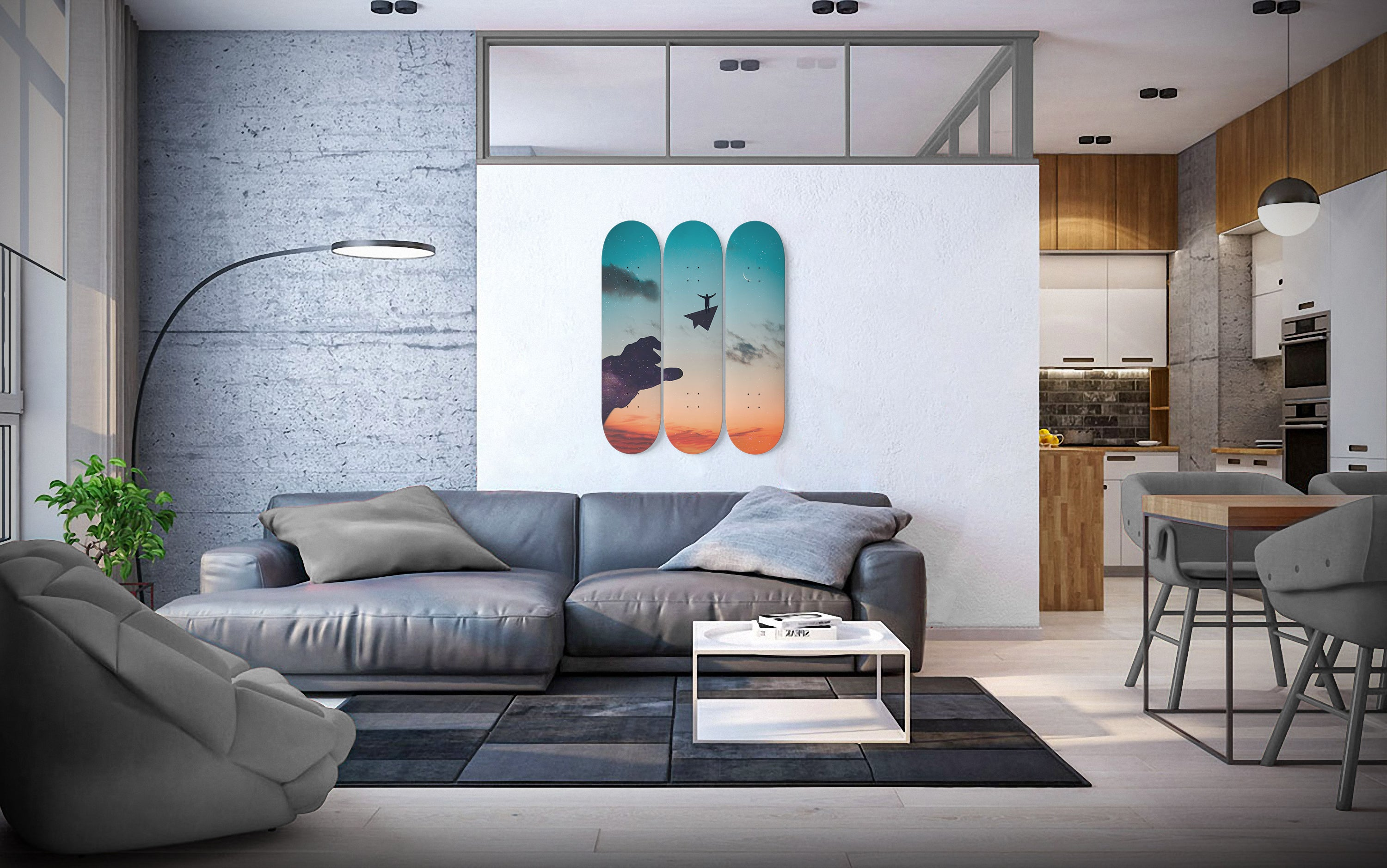 Let the Dream Fly - 3 Piece Skateboard Wall Art hanging on the wall in the living room
