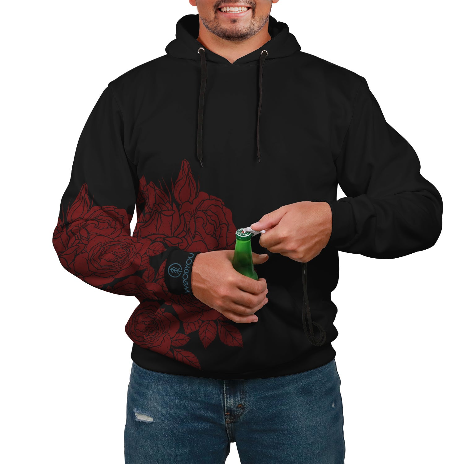 Red Rose Pop Top tailgate Hoodie with drink holder and bottle opener in red and black