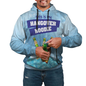 The Hangover Pop Top Hoodie with a bottle opener and beer holder in blue