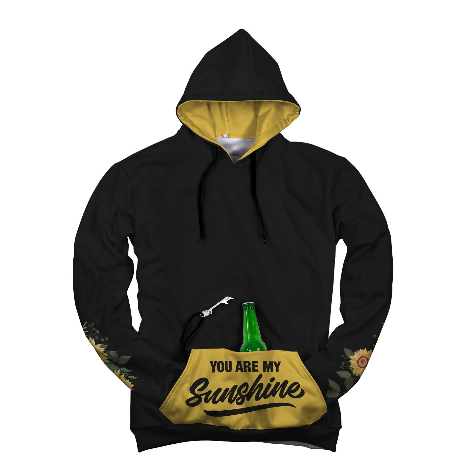 You Are My Sunshine Pop Top Hoodie. Sunshine in my pocket beer holder pop top hoodie in black and yellow with flowers