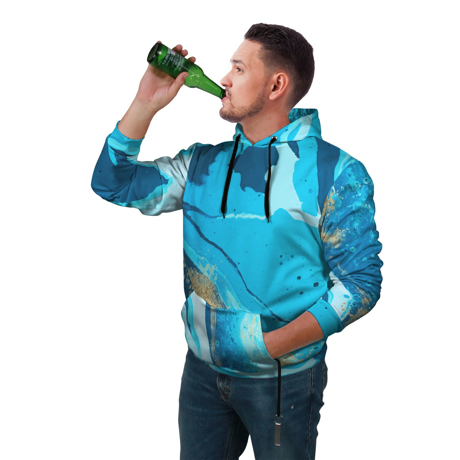 Marbled Pop Top Hoodie with built in beer or drink holder and bottle top opener in a blue marbled color