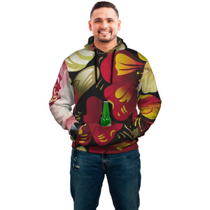 Abstract Floral pop Top Hoodie with built in beer or drink holder and bottle top opener in a abstract painted floral design
