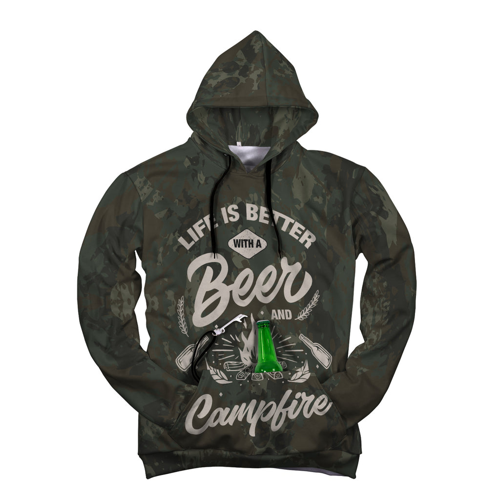 Campfire Pop Top Hoodie with built in beer or bottle holder and bottle opener in green camo with the Campfire image on front