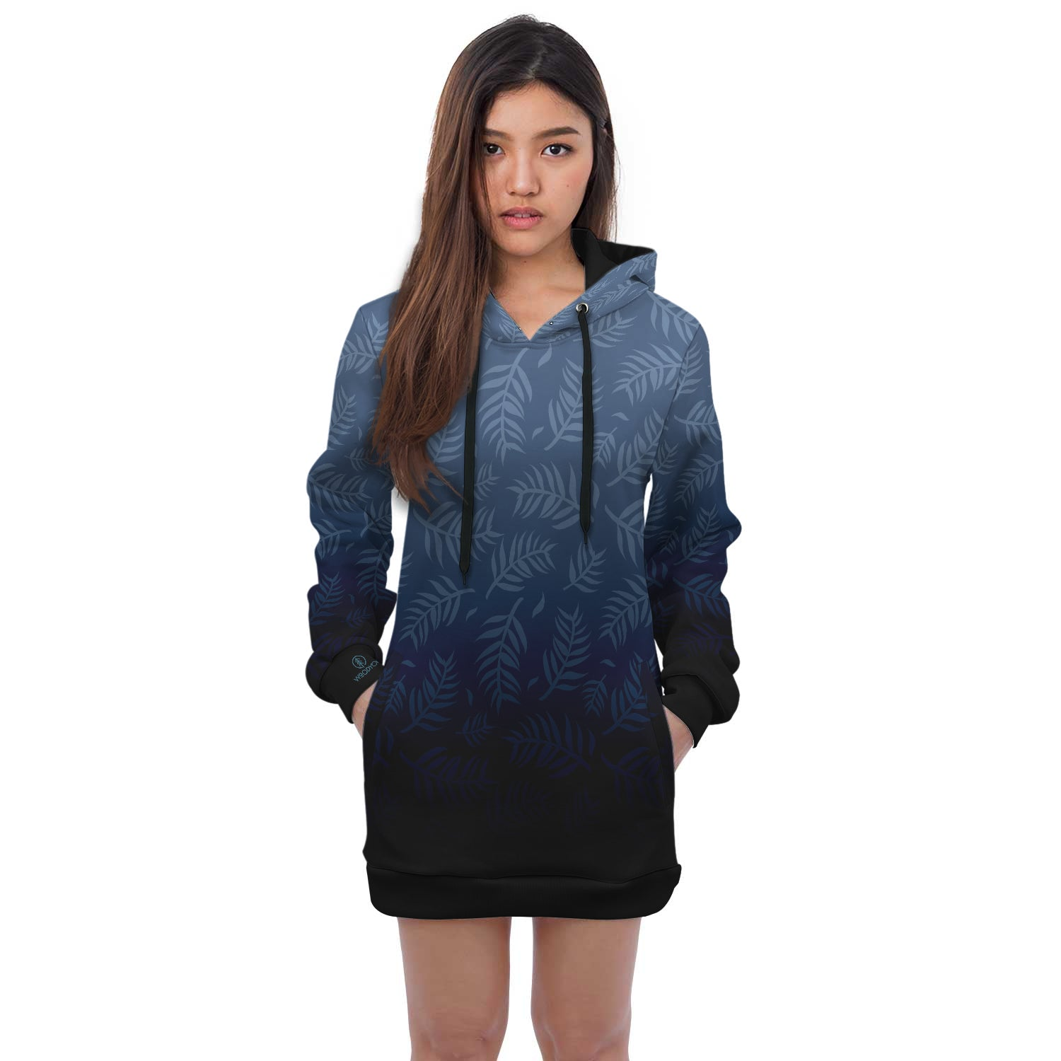 Folium- Hoodie Dress. This custom All Over Printed hoodie dress is the perfect hoodie to stay stylish and fashionable. This hoodie has a trendy style, unique print and comfortable fit.