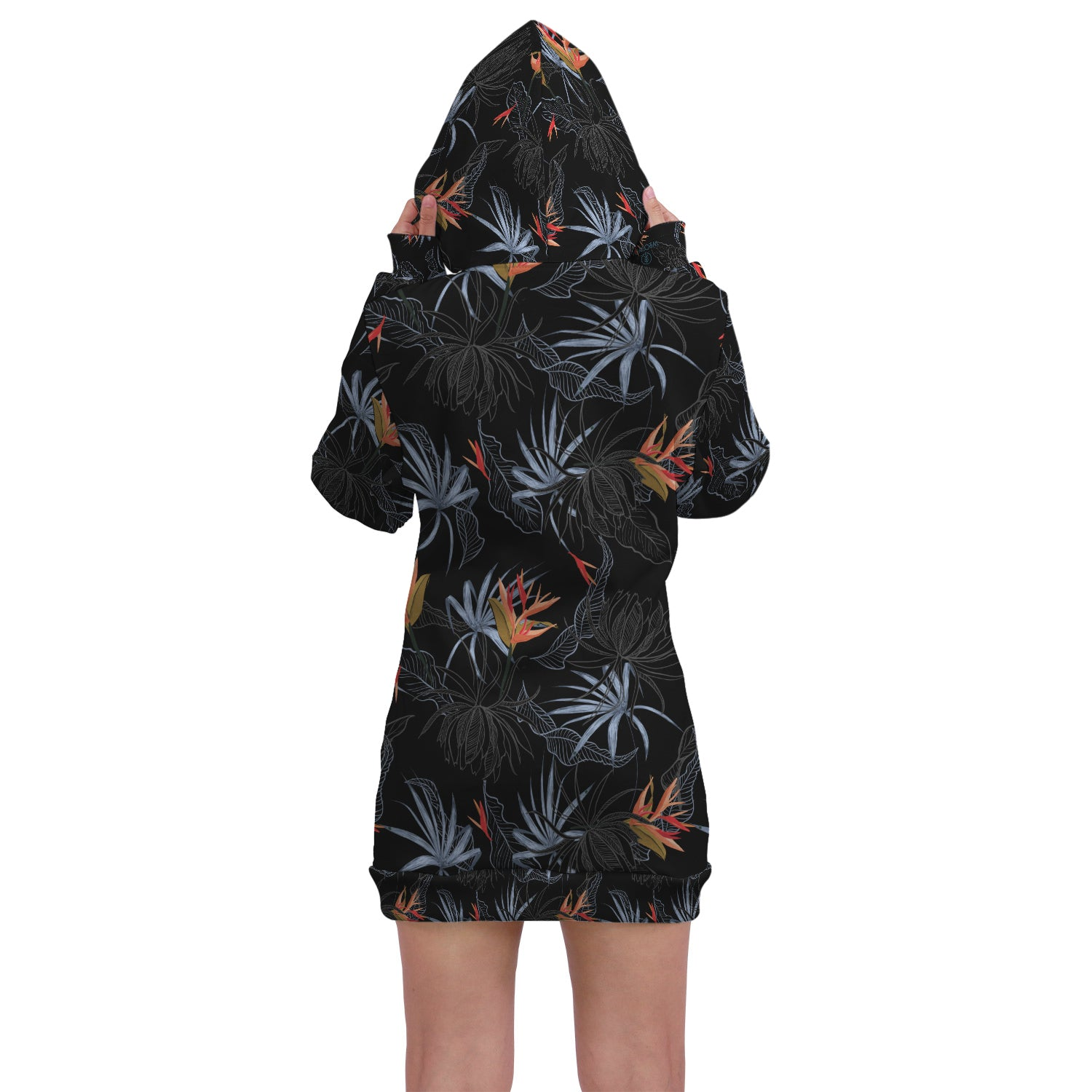 Tropic- Hoodie Dress. This custom All Over Printed hoodie dress is the perfect hoodie to stay stylish and fashionable. This hoodie has a trendy style, unique print and comfortable fit.