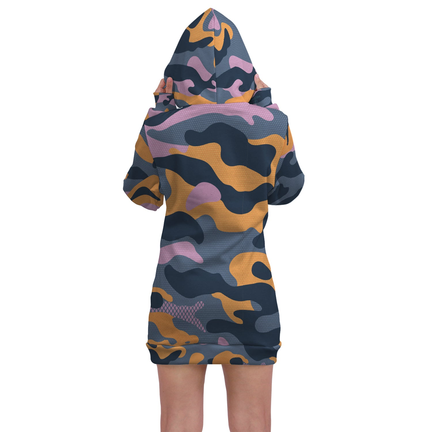 Urban Camo - Hoodie Dress. This custom All Over Printed hoodie dress is the perfect hoodie to stay stylish and fashionable. This hoodie has a trendy style, unique print and comfortable fit.