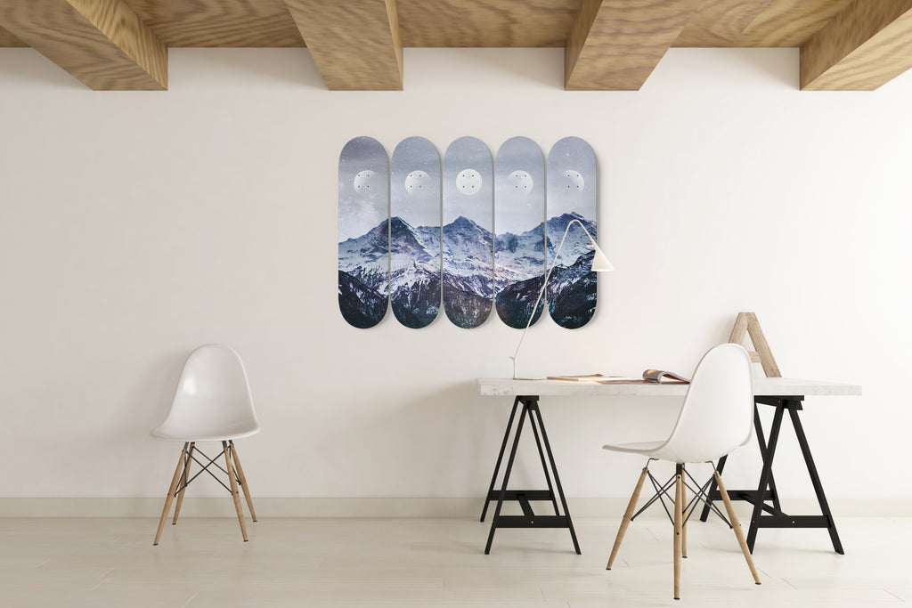 Lunar Phase 5 Skateboard Wall Art mounted on a wall in an open plan office