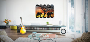 Elephants the Gentle Giants - 5 Piece Skateboard Wall Art hanging in the living room