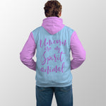 Unicorn Love Pop Top Hoodie with built in beer or bottle holder and beer or bottle opener. Message on the back that says Unicorn are my spirit animal in blue and pink