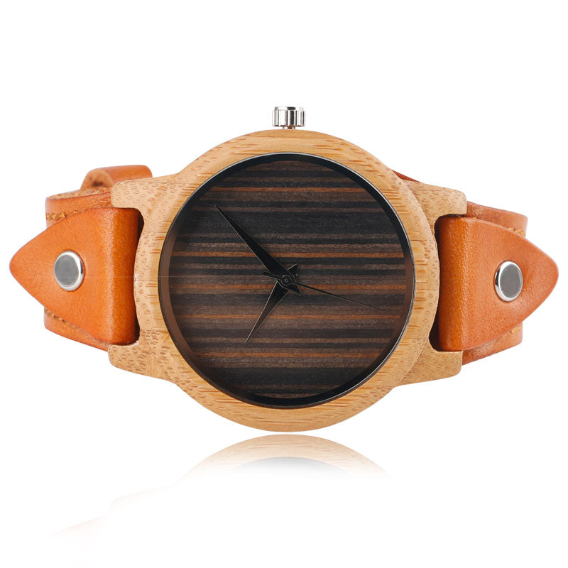 Nature Wood Bamboo Punk Rock Style Genuine Leather Wristwatch