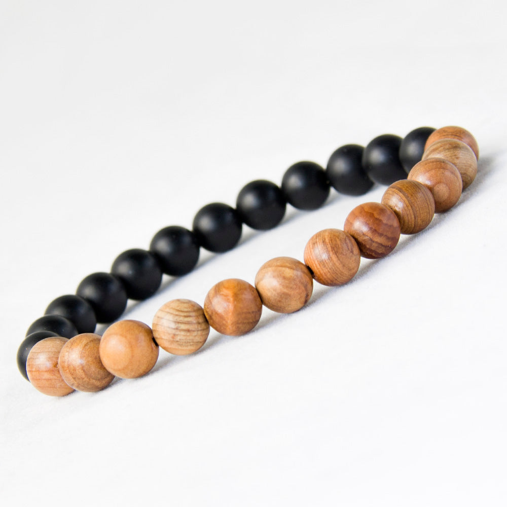 Natural Black Matte Onyx and Wood Yoga Meditation Bracelet
