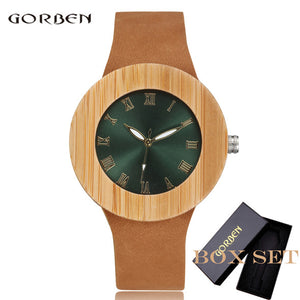 Luxury Bamboo Ladies Shinning Dial Leather Watches For Women