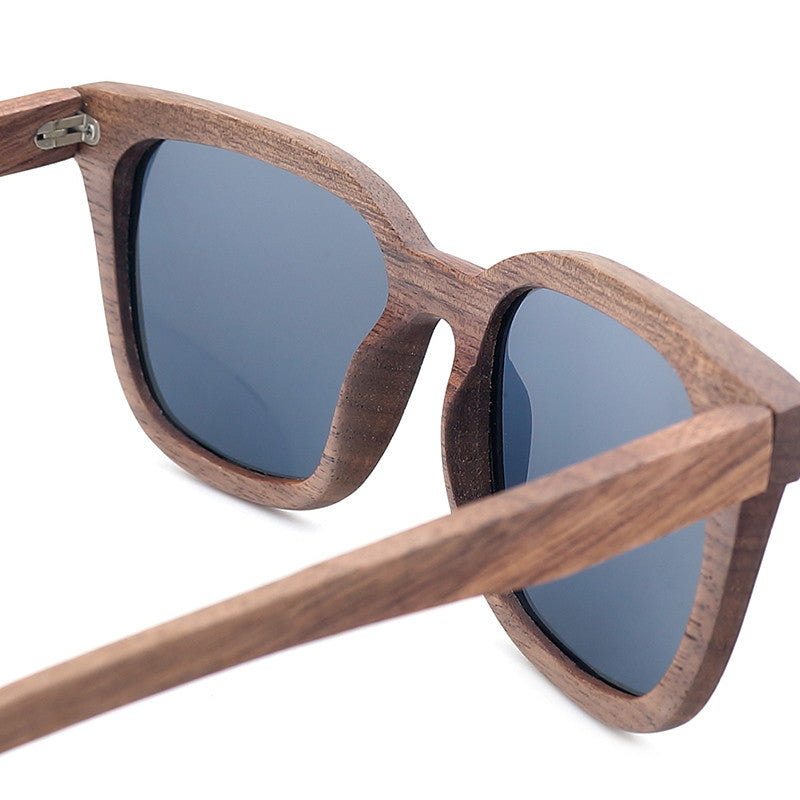 Black Vintage Walnut Wooden Polarized Sunglasses