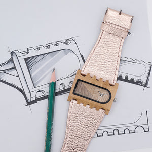 Wide Band Rectangle Bamboo Watch