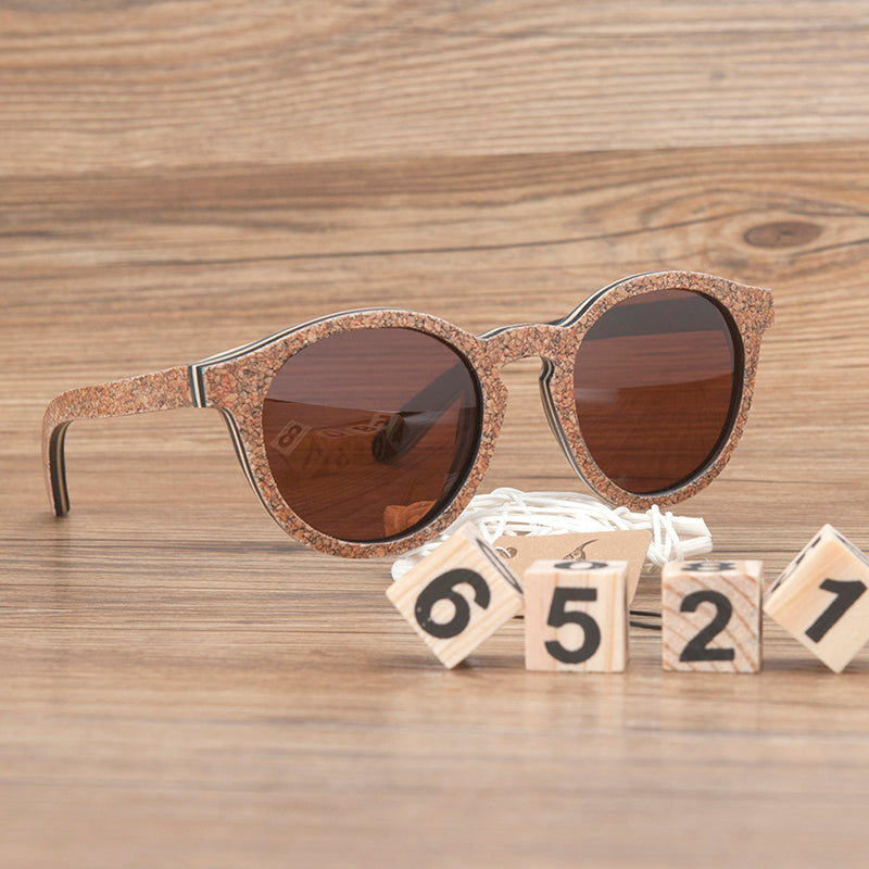 Multi layer Natural Wood Sunnies with Polarized Lens