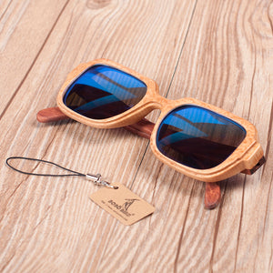 handmade bamboo sunglasses with blue lens