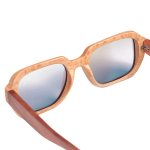 handmade bamboo sunglasses with grey lens from the back view