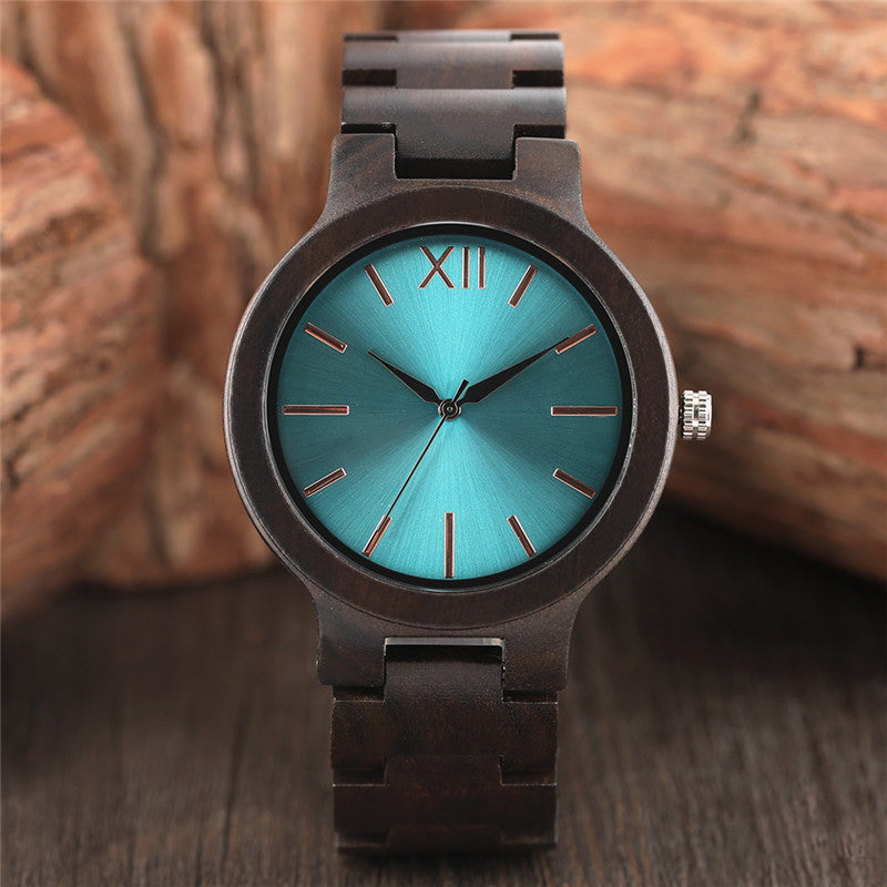 Stunning metallic watch face, fitted into a beautifully handcrafted wooden watch.