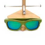 Handmade Green Bamboo frame with green Mirror lens sunglasses