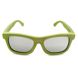 Handmade Green Bamboo frame with grey Mirror lens sunglasses