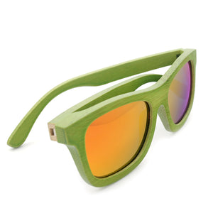 Handmade Green Bamboo frame with orange Mirror lens sunglasses