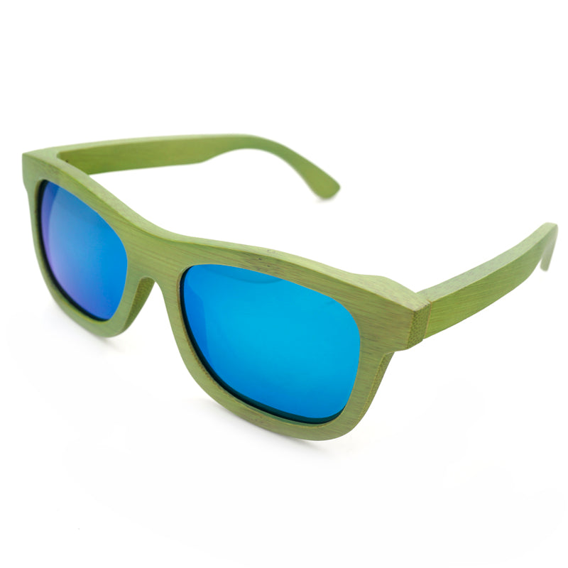 Handmade Green Bamboo frame with blue Mirror lens sunglasses