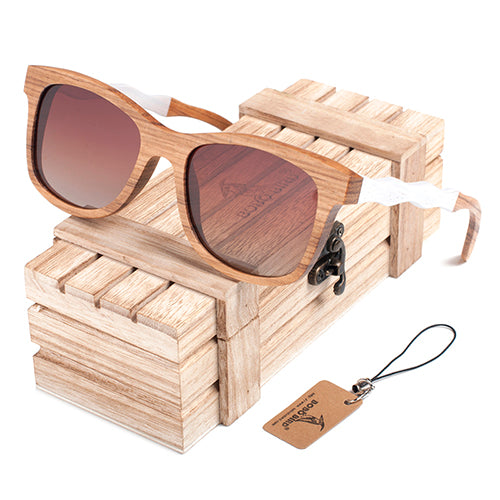 Two Tone Creative Wavy Wooden Sunglasses