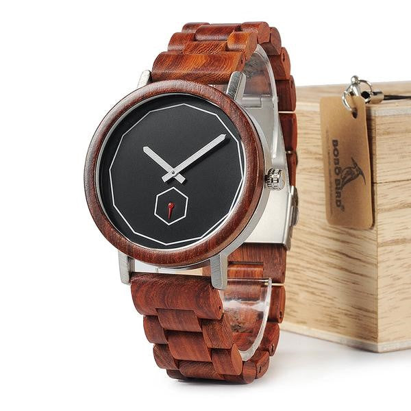 Full Red Wood  Quartz Watch
