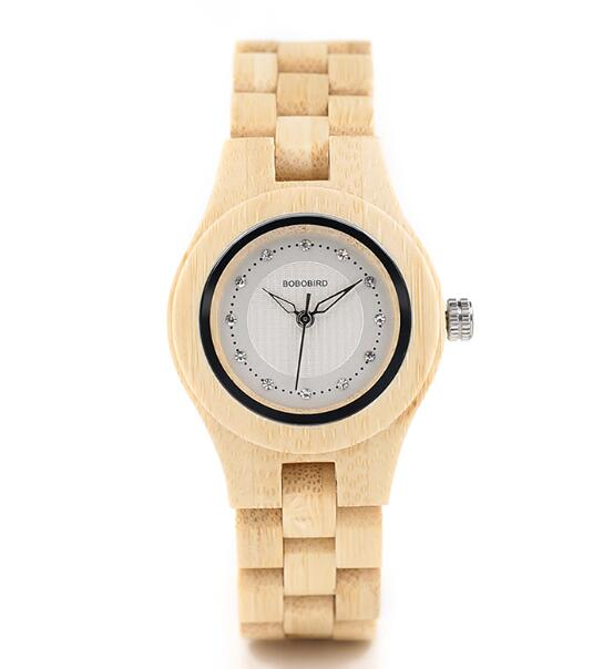 Crystal Dial Ladies Bamboo Watch in Wooden Box