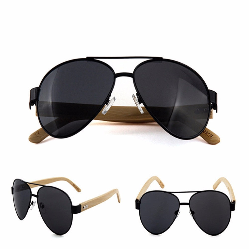 black lens Aviator style sunglasses with bamboo Arms