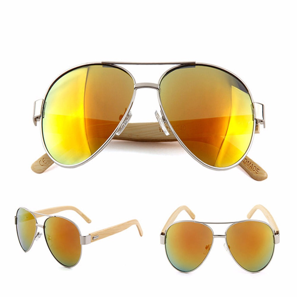Yellow lens Aviator style sunglasses with bamboo Arms