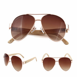 Brown lens Aviator style sunglasses with bamboo Arms