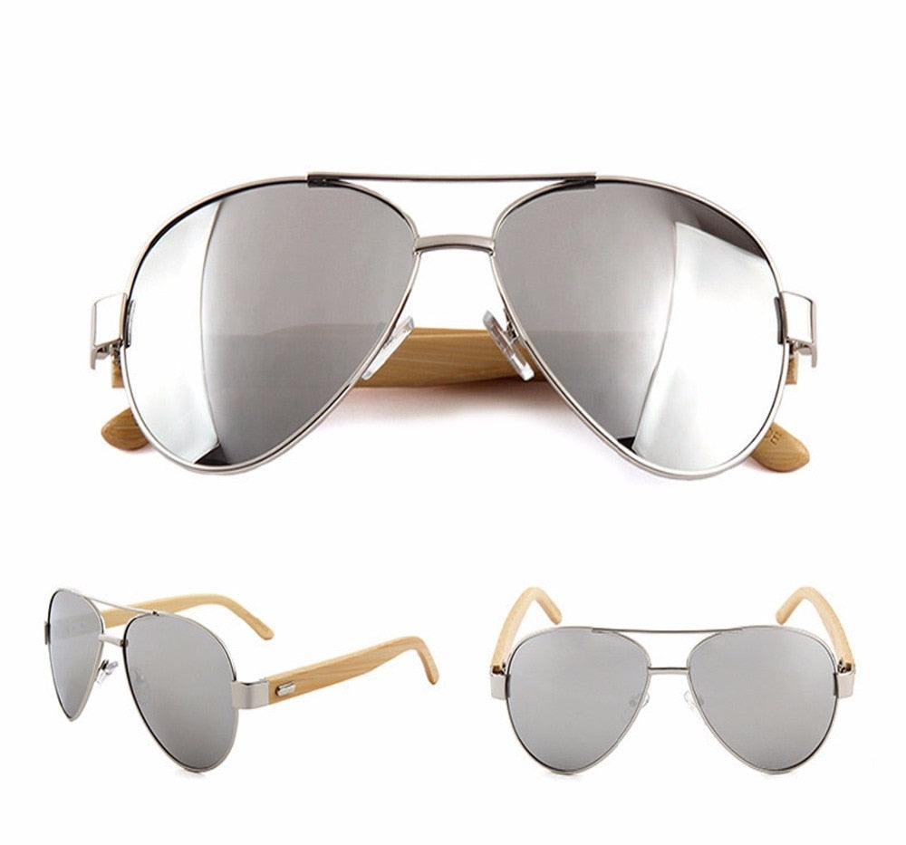 Silver lens Aviator style sunglasses with bamboo Arms