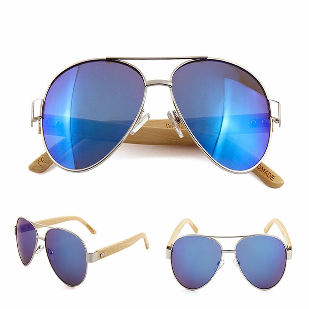Blue / Green Aviator style sunglasses with bamboo Arms