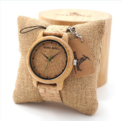 Handcrafted Bamboo Wood & Cork Wristwatch With Leather Straps