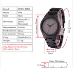 Black Ebony Wooden Watch Causal Quartz Wrist Watch in Box