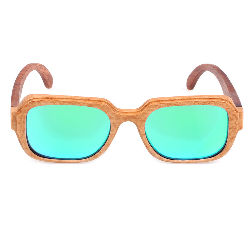 Handmade bamboo sunglasses with green lens