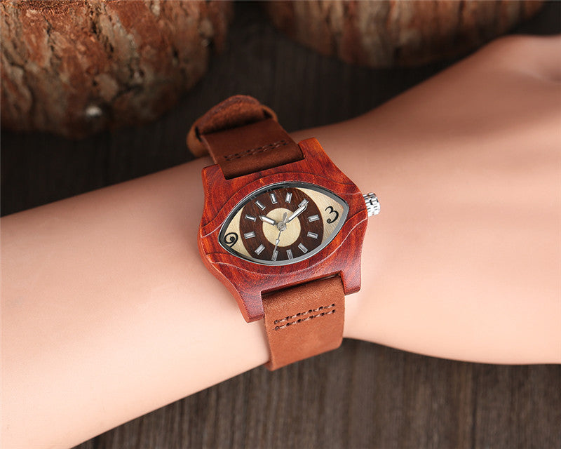 Vintage Evil Eye Wooden Quartz Watch Genuine Leather