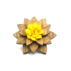 Handmade Bamboo and bamboo fiber lapel pin with yellow blossom