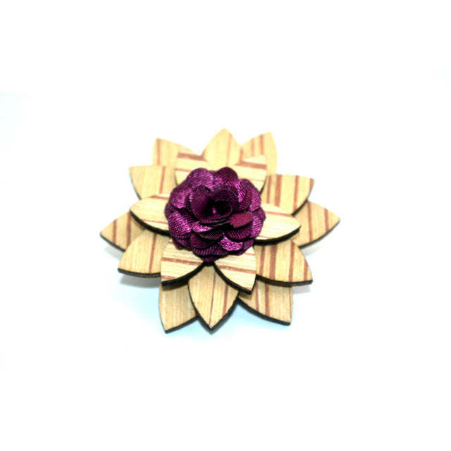 Handmade Bamboo and bamboo fiber lapel pin with burgundy blossom