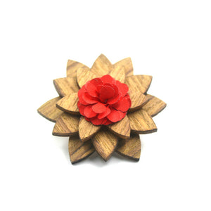 Handmade Bamboo and bamboo fiber lapel pin with red blossom