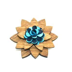 Handmade Bamboo and bamboo fiber lapel pin with blue blossom