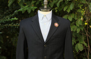 Handmade Bamboo and bamboo fiber lapel pin on a suit jacket