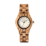 Zebra Wood Watch with Rhinestone Dial on white back ground