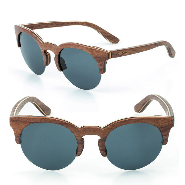 Handmade Semi Rimless sunglasses made from wood with a grey lens