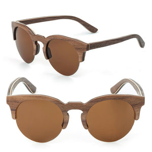 Handmade Semi Rimless sunglasses made from wood with a brown lens
