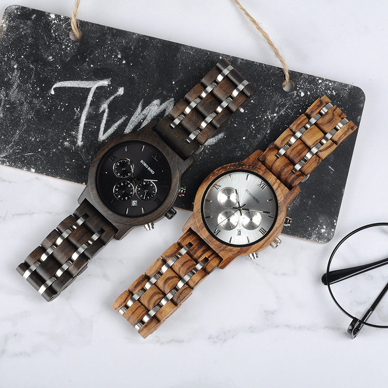 Wooden Watches for Lovers Wood and Steel Combined Design with Stop Watch