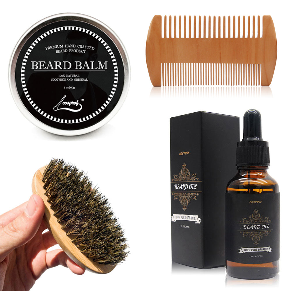 Comb Kit for Beard Care with Organic Moisturizing Wax Set
